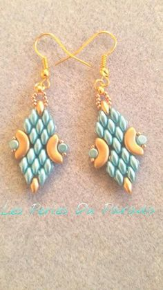Earrings made with arcos and Minos par puca and superduo beads