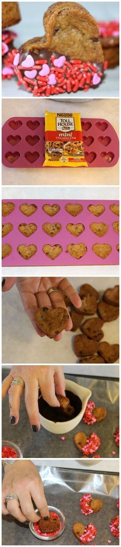 Chocolate chip cookie hearts made with silicon mold and packaged cookie dough are an easy but impressive Valentine's Day treat. Valentines Day Treats, Valentines Day Chocolate Chip Cookies, Valentines Baking, Funny Valentine, Valentine Recipes, Valentine Food Ideas, Valentines Cakes And Cupcakes, Valentine Party, Valentines Day Chocolates