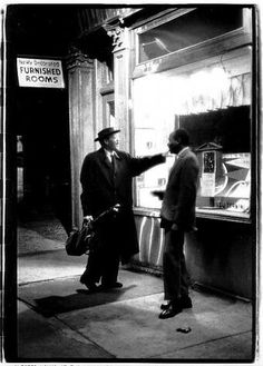 Herb Snitzer. 'Lester at Work -1958' Outside the Five Spot Cafe http://www.jerryjazzmusician.com/2014/08/masters-jazz-photography-herb-snitzer/