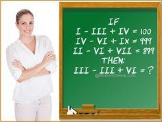fun-math-riddle-i-iii-iv-v Math Questions, Brain Teasers, Fun Math, Riddles, Letter Board, The 100, Puzzle, School, Maths Fun