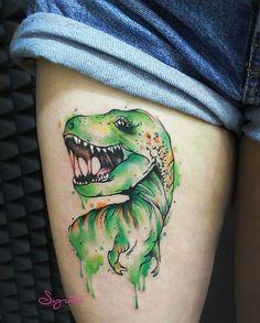 Watercolor Dinosaur Tattoo by juliasyuta