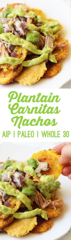 Plantain Carnitas Nachos Paleo AIP Whole 30 Unbound Wellness Paleo Whole 30, Whole 30 Recipes, Whole Food Recipes, Diet Recipes, Cooking Recipes, Healthy Recipes, Lunch Recipes, Simple Recipes, Cooking Tools