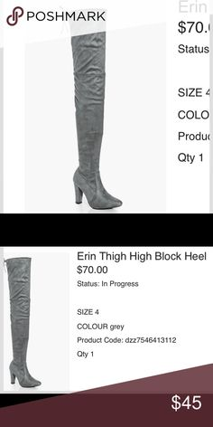 Grey thigh high boots brand new NEVER WORN size 6 Grey thigh high boots in perfect condition never been worn size 6. Originally 70$ from boo hoo. Message me if you would like to see direct listing on boohoo website. Boohoo Shoes Heeled Boots