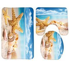 Cheap bath mat, Buy Quality bathroom rug directly from China bathroom mat Suppliers: Bathroom Mat Set Beach Starfish Sea Shell Pattern Bath Mat Anti Slip Bathroom Rug and Toilet Mat Bathroom Products