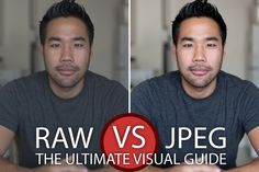 Shooting RAW vs JPEG is a question that every photographer faces at some point. This article will provide you a practical visual guide as to the exact differences between RAW and JPEG file formats, while leaving out all the technical mumbo-jumbo. Photography Basics, Photography Lessons, Photoshop Photography, Photography Business, Photography Tutorials, Photography Photos, Digital Photography, Amazing Photography, Popular Photography