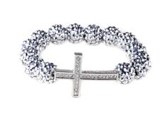 Silver Tone Sideways Cross Resin Beads Bracelet Stretchable $4.99