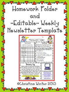 Homework Folder and **Editable** Newsletter Template 1st Grade Homework, Homework Log, Homework Folders, Homework Ideas, Class Newsletter, Classroom Newsletter, Newsletter Templates, Homework Organization, Classroom Organisation