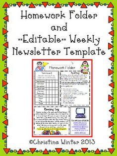 Homework Folder and **Editable** Newsletter Template