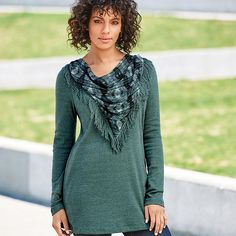 Scarf-Neck Top Matching made easy! Your teal scarf will look perfect every time with the easy to wear scarf attached to top. Its below hip design will help elongate your figure.  Regularly $29.99.  Buy online at snalley.avonrepresentative.com