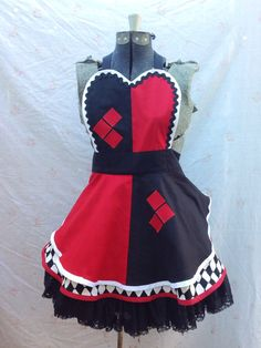 Harley Quinn Inspired Retro Apron with plus by InAPickleCrafts