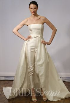 "Brides.com: Spring 2014 Wedding Dress Trend: Sleek and Modern. ""Cloe"" rustic silk body wedding dress, trousers, and train with hemstitch detail, strapless bodice, and bow detail at waist, Rosa Clará  See more Rosa Clará wedding dresses."