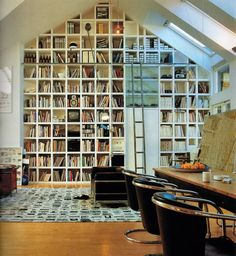 Bookshelves full to a cathedral ceiling and library ladder! Home Library Design, House Design, Bookshelves Built In, Bookshelf Wall, Book Shelves, Bookcases, Wall Shelving, Book Storage, Ceiling Shelves