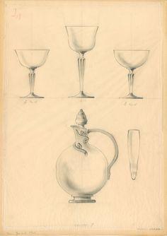 Lasiesineiden piirustus vuodelta 1932, taiteilija Elmar Granlud.  #elmargranlund #glass #design #glassdesign #finnishdesign
