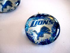 Art Pendant, Necklace, Detroit Lions, Glass Cabochon, Sport, Lions fan, glass Gem, handmade pendant