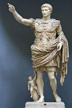 Título: Augusto Prima Porta. Autor: Anònim.  Estilo: Roma amb influència grega.