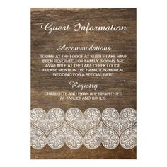 #wood - #Rustic wood and lace information card