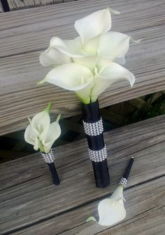 Real Touch White Calla Lily Bridal Bouquet Set by SilkFlowersByJean, $271.00