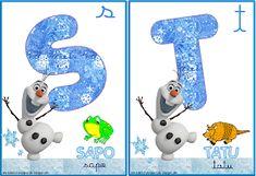 A Arte de Ensinar e Aprender: Cartelas alfabeto temático Frozen Frozen, Snowman, Disney Characters, Fictional Characters, Clip Art, Children, Alphabet, Teaching, Creative Ideas