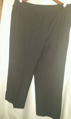 ANN TAYLOR Petites stretch Black dress Capri Pants womens 14P Petite.beads…