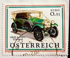 beautiful stamp Austria € 0.51c cent postage car Oldtimer Graef & Stift Automobil stamp