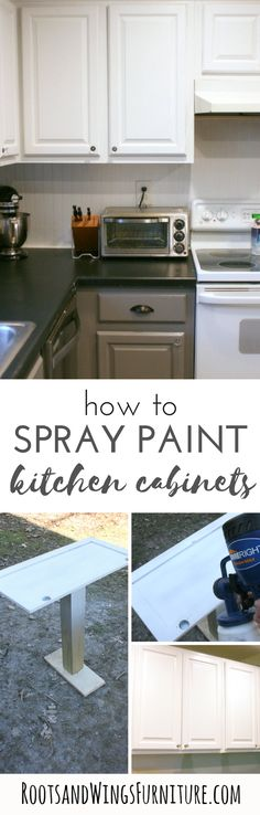 How to makeover your kitchen cabinets using a sprayer.  For a fast, easy, beautiful finish.  Update your cabinets and transform your space.  Post by Jenni of Roots and Wings Furniture.