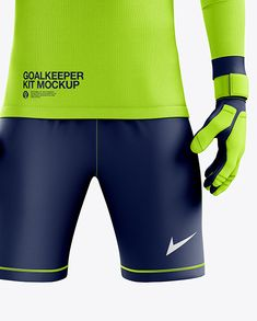 Men's Full Soccer Goalkeeper Kit mockup (Front View) in Apparel Mockups on Yellow Images Object Mockups Goalkeeper Kits, Leg Sleeves, Stretch Fabric, Mockup, Soccer, Football, Shorts, Earn Money, Outfits