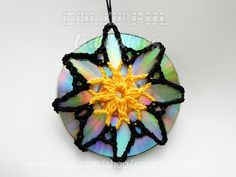 Doublesided crochet suncatcher Recycled CDs by ColorfulLullabies, $15.00