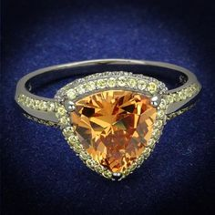 A Perfect 3CT Trillion Cut Cognac Russian Lab Diamond Ring Fancy Yellow Diamond Accents