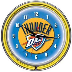 Count down to tip off in style with this OKC Thunder neon clock.  Free shipping too!