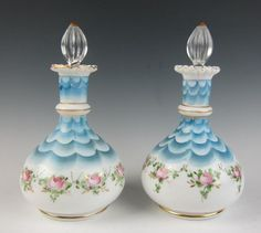 Pair of RARE Vintage Fenton Charleton Rose Blue Satin Drape Perfume Bottle Glass | eBay
