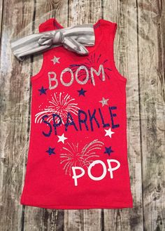 Fourth of July Tank Top Shirt or Bodysuit. Our sparkle shirts/Bodysuits are a huge hit! Great baby shower gifts & are great for photo shoots! Youre little girl will be the sparkling center of attention.tank tops may be standard or razor back. BOW IS NOT INCLUDED, ONLY SHIRT! Be sure to wash inside out. Hang dry or dry inside out on low heat. That is to protect the glitter from being damaged. We use high quality materials to make sure that you get a lasting outfit! Custom orders a...