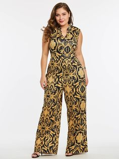 256ac5c3062 Plus Size Geometric Gold Print Sleeveless Jumpsuits. Long JumpsuitsJumpsuits  For WomenPlus Size JumpsuitCasual ...