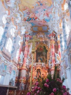 pilgrimage church of wies - germany Baroque Architecture, Beautiful Architecture, Beautiful Buildings, Beautiful World, Beautiful Places, Blue Aesthetic, Renaissance Art, Old Art, Aesthetic Pictures
