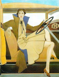 "Flapper in car ""Robe du Apres- Midi"" by Alberto Vargas 1930. Vargas by Alberto Vargas & Reid Austin (1978) (please follow minkshmink on pinterest) #vargas #flapper #artdeco"