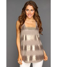 BCBGMAXAZRIA Sequin Striped Jersey Tank Heather Taupe