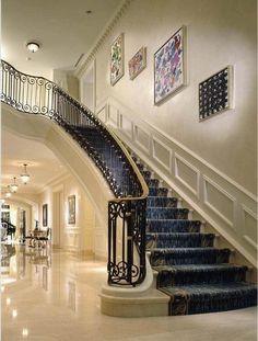 Geoffrey Bradfield Luxury Interior Design A Columbus Chateau Luxury Staircase, Staircase Railings, Modern Staircase, Grand Staircase, Staircases, Luxury Homes Interior, Home Interior Design, Interior Decorating, Interior Ideas