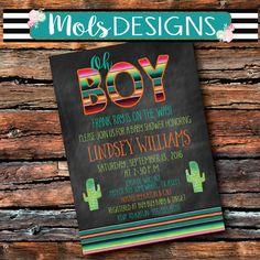 FIESTA BABY SHOWER Oh Boy Uno 1st Birthday Serape Blanket Bridal Surprise Mexican Wedding Cactus Muchacho Sprinkle Nacho Average Invitation