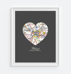 For my Steelers fan! Cool gift idea, Pittsburgh Pennsylvania Heart Vintage Map ART by droppedpinshop