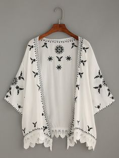 ~ White Scalloped Crochet Trimmed Embroidered Kimono ~ us.shein.com