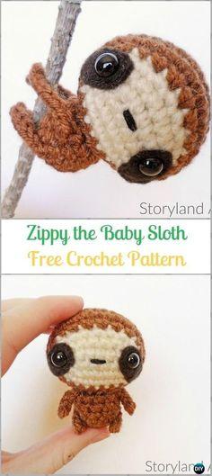 Crochet Amigurumi Zippy the Baby Sloth Free Pattern-Crochet Sloth Amigurumi Toy Softies Free Patterns