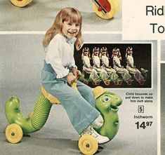 Romper Room Inchworm from the Remember this riding toy from back in the and/or If you were too small for a Bi. Romper Room, Photo Vintage, 80s Kids, Ride On Toys, I Remember When, Retro Toys, Vintage Toys 1970s, 1970s Toys, Vintage Kids