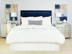 decor, blue velvet, abstract art, white bedding, navy, master bedroom, upholstered headboards, blues, modern bedrooms