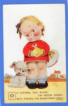 OLD VINTAGE POSTCARD ARTIST SIGNED MABEL LUCIE ATTWELL GIRL DOG PUPPY   eBay