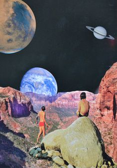 Djuno Tomsni,French artist Djuno Tomsni imagines the perfect summer vacation in outer space with his hand-made collages from vintage holiday brochures and photo albums. ,Space Vacations Space Trips, summer vacations outer space,