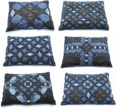 denim quilted pillows