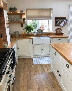 """{AD} My most frequently asked question has be """"What do you treat your wooden worktops with?"""" & """"Are wooden worktops hard to maintain (especially around the sink area)? Home Decor Kitchen, Kitchen Interior, New Kitchen, Kitchen Design, Tidy Kitchen, Cottage Kitchens, Home Kitchens, Small Cottage Kitchen, Shaker Style Kitchens"""