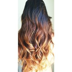 black to amber blonde ombre hair- did this on mine today- not nearly... ❤ liked on Polyvore featuring hair and hairstyles