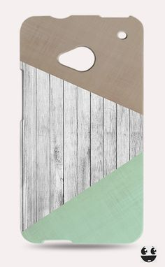 HTC One Phone Case, HTC One Case  Wooden Teal & Brown