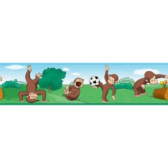 Curious George Wall Border SALE - Wall Sticker, Mural, & Decal Designs at Wall Sticker Outlet Curious George Bedroom, Curious George Party, Roommate Decor, Roommates, Wall Borders, Wallpaper Borders, Wall Appliques, Aleta, Little Monkeys