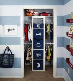 Planning: Kid's Closet Tips: Fabric storage bins help keep an open closet neat, organized, and presentable. Double rods on both sides of the storage tower provide extra space for shirt and pants storage. Apply adhesive picture labels to the outside of the fabric bins to make it easier for kids to stick with your organization system.